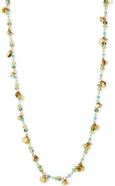 lonna & lilly Gold-Tone Green and Blue Beaded Long Shaky Necklace