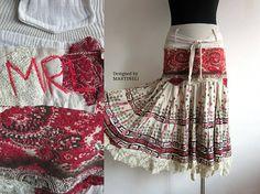 Beige Gypsy Skirt Boho Chic Skirt Recycled Clothing Shabby