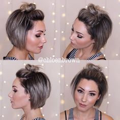 Top Knot Bun's are perfect for the beach, working out, dirt hair and for windy. - Top Knot Bun's are perfect for the beach, working out, dirt hair and for Cute Short Haircuts, Short Hairstyles For Women, Bob Hairstyles, Braided Hairstyles, Beach Hairstyles, Pixie Haircuts, Short Hair Bun, Haircut For Thick Hair, Short Hair Styles