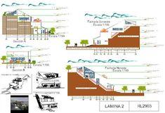 Casas en pendiente: 17 ejemplos de cómo adaptarse a un terreno inclinado - AboutHaus Modern Design, How To Plan, Projects, Draw, Log Cabin Houses, Beach Houses, Country Houses, Home Layouts, Home Plans