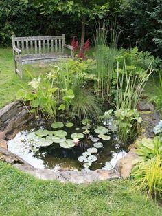 Une déco extérieure romantique avec un bassin de jardin