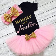 c38d25bdb US 3PCS Newborn Baby Girl Clothes Romper Jumpsuit+Tutu Skirt+Headband  Outfit Set | eBay