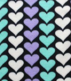 Blizzard Fleece Fabric- Mint Hearts