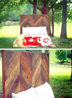 Full-Size Chevron Headboard Made From Reclaimed Pallet Wood. $400.00, via Etsy.