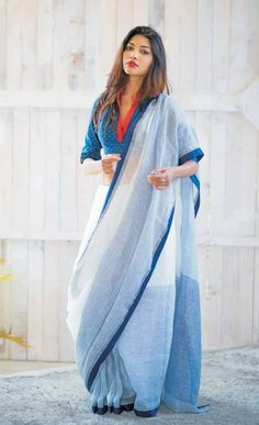 White and Pale Blue Simple Colorblock Saree. i like the blouse Indian Attire, Indian Ethnic Wear, Indian Outfits, Cotton Saree Blouse, Khadi Saree, Sari Blouse Designs, Saree Blouse Patterns, Saree Draping Styles, Saree Styles