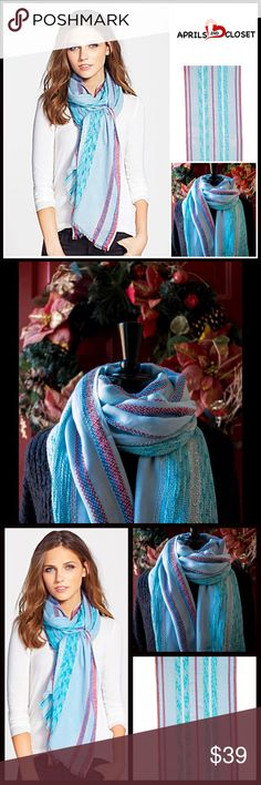 "BLANKET SCARF CAPE WRAP RETAIL PRICE: $58 💟 NEW WITH TAGS 💟 Scarf Cape Blanket Long Scarf Wrap * A high quality construction w/an Allover beautiful striped pastel print w/metallic threads * Fringe trim detail * A lightweight fabric for layering.  * 78"" L X 28""W; One size fits most. Fabric: Rayon, cotton/4% metallic  Color: Blue Combo Item: SEARCH# CHUNKY KNIT SCARF Long infinity Cowl Neck  🚫No Trades🚫 ✅ Offers Considered*/Bundle Discounts✅ *Please use the 'offer' button to submit an…"
