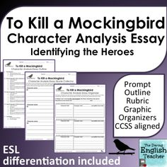 to kill a mockingbird essay topics To Kill a Mockingbird Character Analysis Graphic Organizers . Essay Prompts, Essay Topics, Essay Writing, Sample Essay, Sample Resume, Teaching American Literature, Teaching English, Essay Questions