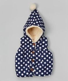 Love this Navy & White Polka Dot Hooded Vest - Infant, Toddler & Girls on #zulily! #zulilyfinds by sandy