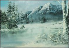 Bob Ross Tribute ..-.. Bob Davies ...Wintry Langdale Pikes - yet again in the Lake District, using Bob Ross oils as they were designed