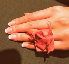 Handmade red leather ring.