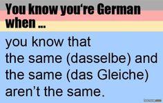 Du weißt, dass du Deutscher bist, wenn...du weißt, dass dasselbe und das Gleiche nicht gleich sind.