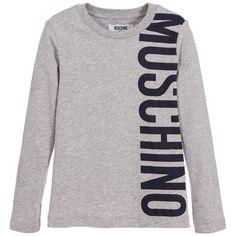 2a5e52c5918fa5 Moschino Boys Grey Cotton Jersey Logo T-Shirt at Childrensalon.com Kids  Online