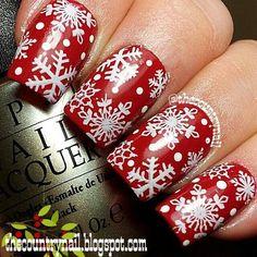 Country Snowflakes on Bellashoot.com #Nailart #Snow #FestiveNails #Holiday #Rednails