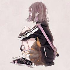 Anime School Girl, Sad Anime Girl, Me Anime, Anime Angel, Anime Kawaii, Manga Girl, Anime Art Girl, Manga Anime, Sweet Pictures