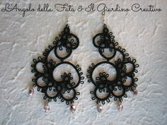 Earrings Arabesque tatted by black cotton by IlGiardinoCreativo