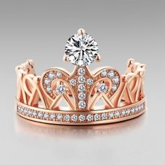 Crown Design 925 Sterling Silver Rose Gold Plated with Cubic Zirconia Women's Ring