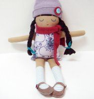Custom Livia Doll - Warm Sugar: With suede Mary Janes, each is an origina made especially for you from new and vintage fabrics. You chose her features and clothing colors.