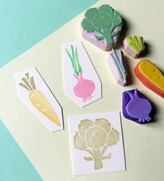 VEGETABLE SET-Hand Carved Rubber Stamp