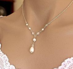 Nupcial collar perla y collar de cristal de por JamJewels1 en Etsy