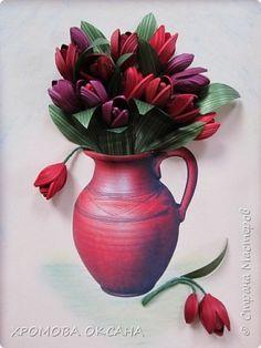 Поделка изделие 8 марта Квиллинг Ваза с тюльпанами и чайнички Бумажные полосы Бусины Клей фото 1