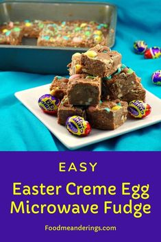 This easy Easter Creme Egg Fudge made in the microwave so it's super quick to make! It has both Cadbury Easter Creme eggs AND Cadbury mini eggs for the ultimate Easter egg fudge. Also great for bake sales! Healthy Dessert Recipes, No Bake Desserts, Cookie Recipes, Healthy Food, Oreo Desserts, Candy Recipes, Plated Desserts, Vegetarian Recipes, Snack Recipes