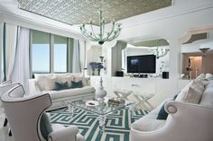 Hollywood Inspiration Ideas for Your Home Interior Design : Modern Living Room In White And Tiffany Blue Clad In Hollywood Regency Style Art Deco Living Room, Eclectic Living Room, Living Room Paint, Living Room Carpet, Living Room Interior, Living Room Designs, Living Rooms, Condo Interior, Room Art