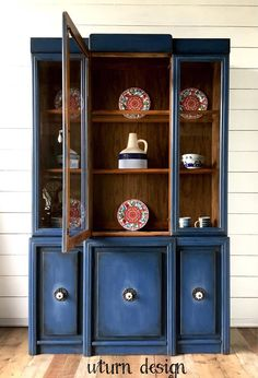 Dark blue painted china cabinet navy farmhouse hutch #ad #paintedfurniture