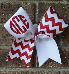 Monogram.chevron.glitter. cheer bow. by CurlyNoodleCreations