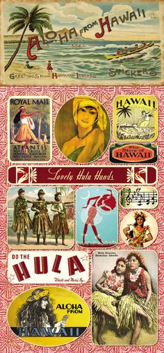 """Vintage """"Aloha From Hawaii""""Stickers - this website is a good source for rubber stamp and sticker images (Hawaiian) Pub Vintage, Vintage Surf, Vintage Items, Hawaiian Art, Vintage Hawaiian, Hawaii Life, Aloha Hawaii, Illustrations Vintage, Polynesian Culture"""