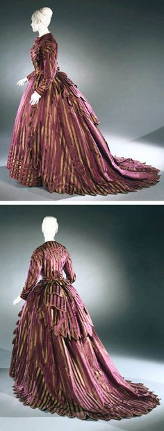 Day dress, American, ca. 1870. Three pieces: bodice, skirt, bustle drape. Striped silk satin and silk taffeta.