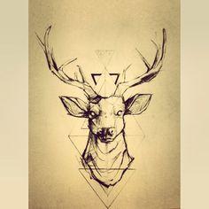 geometrical deer drawing/tattoo