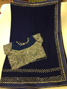 Designer Georgette MirrorWork Saree Paired With designer Blouse | Elegant Fashion Wear