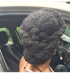 @itsreallyrelle || 2 flat twist in the front then roll/tuck in the back. Protective hairstyles. Length retention hairstyles. Natural hair.