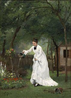 Victor Gilbert - Madame Gilbert dans son jardin (circa 1875)