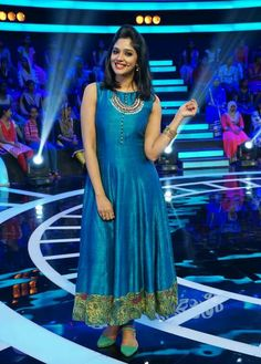 Nyla Usha in blue long kurti