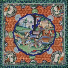 A Chinese Gouache, Stumpwork and Ivory Panel, Qing Dynasty, depicting a jousting scene before dignitaries in a shaped circular panel on a brocade ground with foliate spandrels and borders, 48cm square, framed and glazed