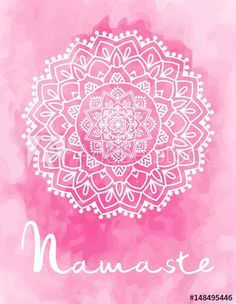 Mandala vector illustration with hand drawn lettering. Namaste, relax, harmony, balance lettering on round mandala. Circle ethnic ornament background.