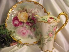 Victorian Roses CHOCOLATE COCOA POT Antique Haviland Limoges France