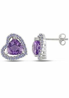 Amethyst Heart Earrings ♥ these would match my necklace