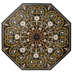 Large Italian Pietra Dura Table Top Italy mid 20th century Spectacular and large hexagonal shaped specimen table. Beautiful mixed stone inlay, great design and fine detail.