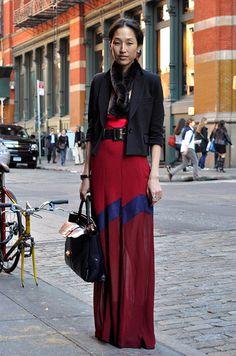 long, semi-sheer skirt with blazer