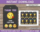 Emoji Favor Tags - Emoji Thank You Tags - Birthday Party Favors - Printable Emoji Tags - Emoticon - INSTANT DOWNLOAD with EDITABLE text