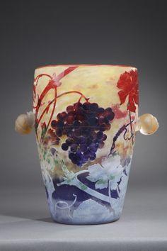 ** Daum Frères, Nancy, Acid Etched, wheel carved and applied Glass Vase.