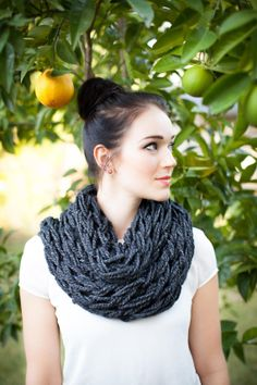 Chunky Cowl Hand Knit ScarfCharcoal by KompassionKnit on Etsy, $25.00