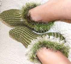Knitted slippers Warm wool Slippers hand knitted by LadyLigaShop