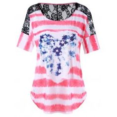 Plus Size Lace Insert American Flag Tee Plus Clothing, Trendy Plus Size Clothing, Plus Size Outfits, Plus Size Fashion, Plus Size T Shirts, Plus Size Tops, Lace Insert, Cheap T Shirts, Pink Tops