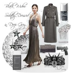 """sedate grey metallic, black widow"" by caroline-buster-brown on Polyvore featuring Amy Lynn, Philosophy di Lorenzo Serafini, BERRICLE, Jimmy Choo, Juliette Has A Gun, Living Proof and Christian Dior"