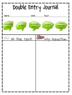 Double Entry Journals can help students with reading comprehension. DEJ allow students to be actively interacting with their reading and metacognition. Reading Resources, Reading Strategies, Teaching Reading, Reading Comprehension, Teacher Resources, Teaching Ideas, Resource Teacher, Learning, Teaching Time