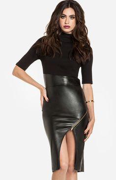 Leatherette Skirt Midi Dress