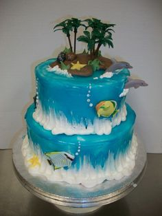 nice frosting work for the sea foam Luau Cakes, Ocean Cakes, Beach Themed Cakes, Beach Cakes, Mermaid Birthday Cakes, Mermaid Cakes, Fondant Cakes, Cupcake Cakes, Cupcakes